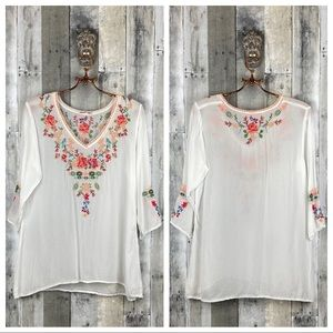 Johnny Was Embroidered Floral Bird Top Size Small